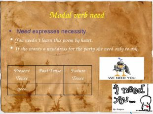 Modal verb need Need expresses necessity. You needn't learn this poem by hear