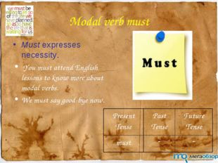 Modal verb must Must expresses necessity. You must attend English lessons to
