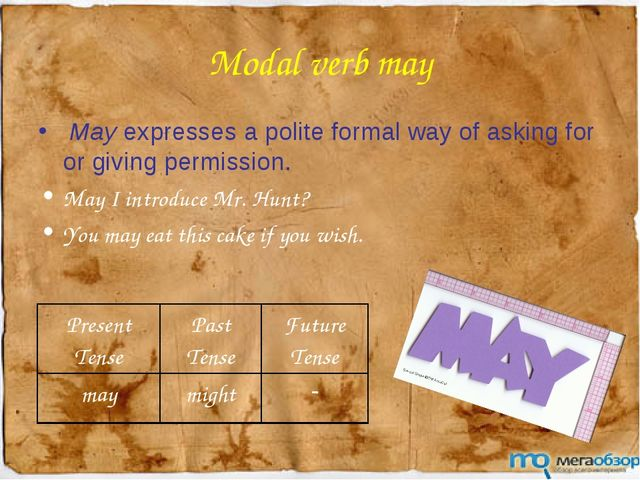 Modal verb may May expresses a polite formal way of asking for or giving perm...