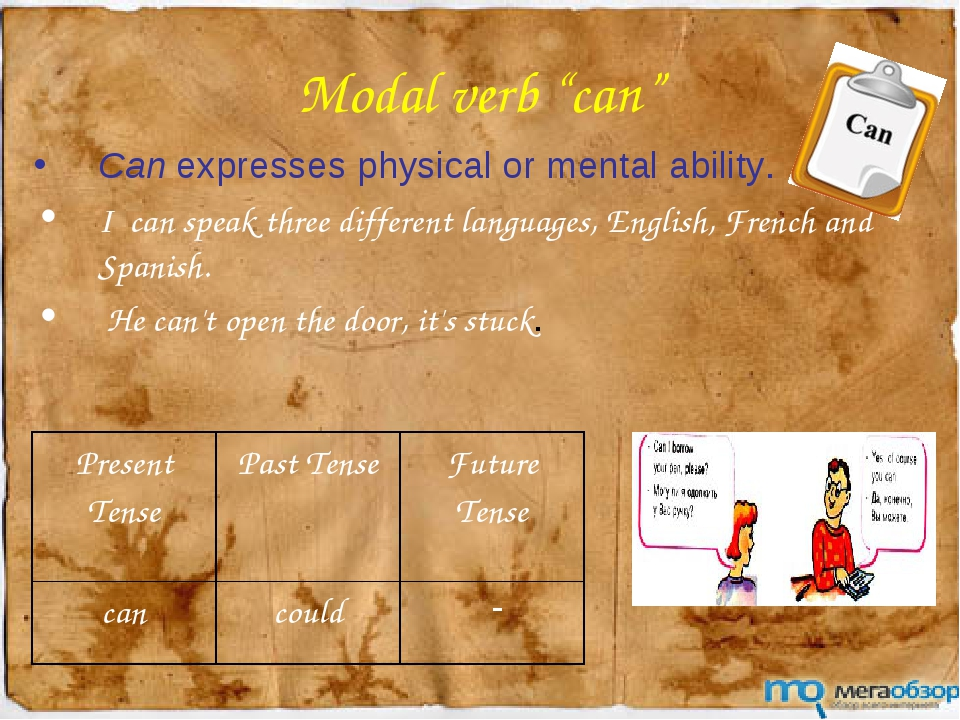 """Modal verb """"can"""" Can expresses physical or mental ability. I can speak three..."""