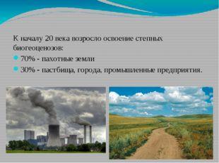 К началу 20 века возросло освоение степных биогеоценозов: 70% - пахотные зем