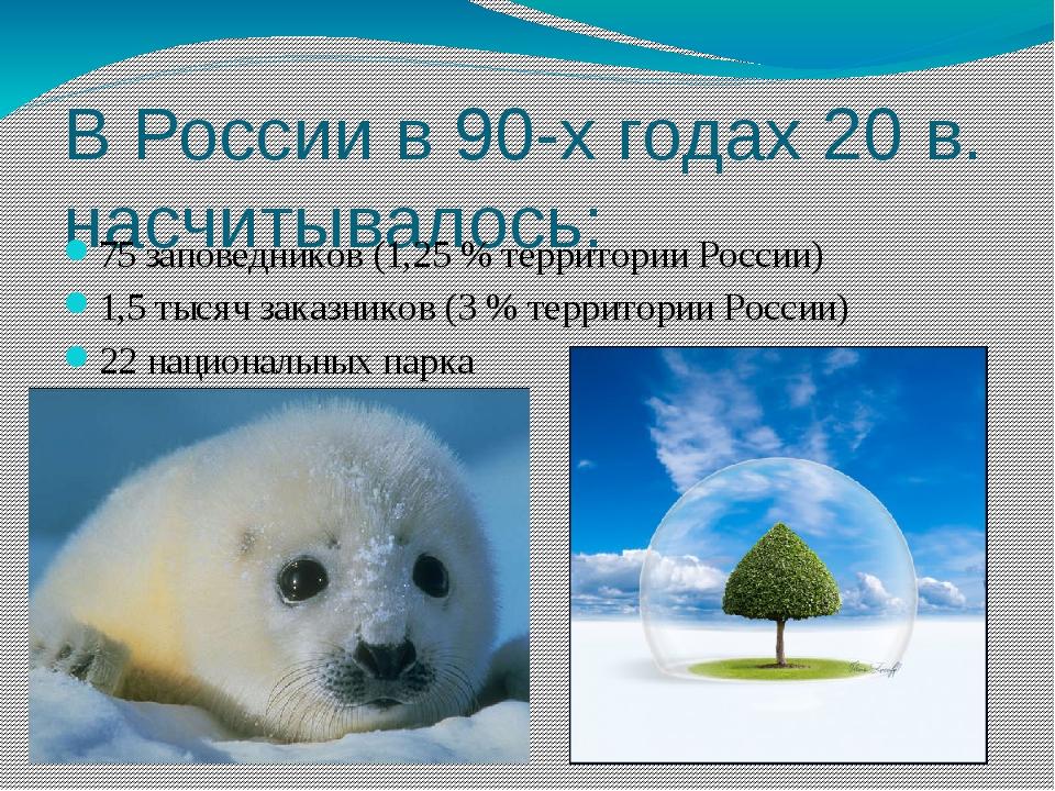 В России в 90-х годах 20 в. насчитывалось: 75 заповедников (1,25 % территории...