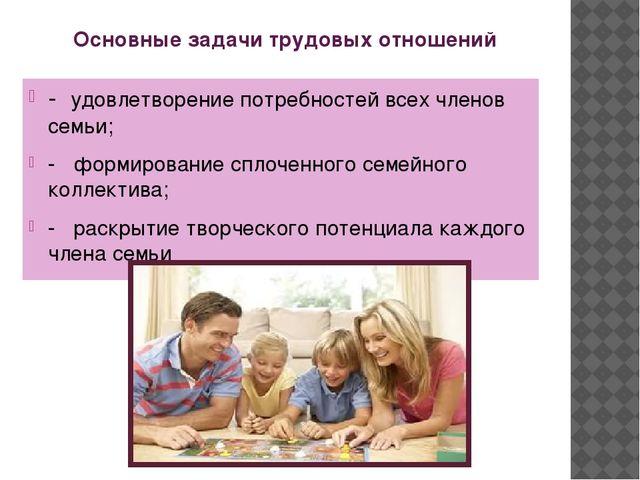 Основные задачи трудовых отношений - удовлетворение потребностей всех членов...
