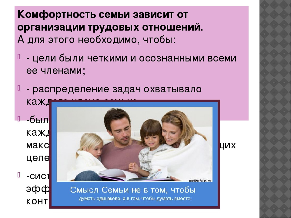 Комфортность семьи зависит от организации трудовых отношений. А для этого не...