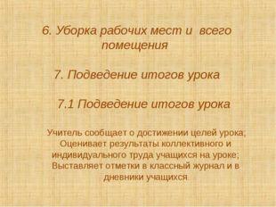 6. Уборка рабочих мест и всего помещения 7. Подведение итогов урока 7.1 Подве