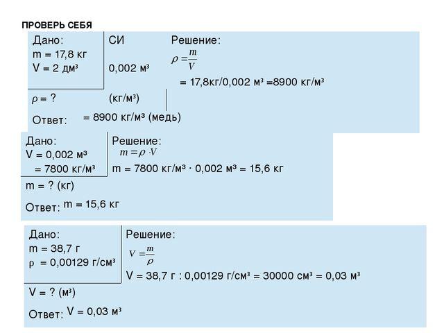 ПРОВЕРЬ СЕБЯ ρ = 8900 кг/м³ (медь) m = 15,6 кг V = 0,03 м³ Дано: m=17,8кг V =...