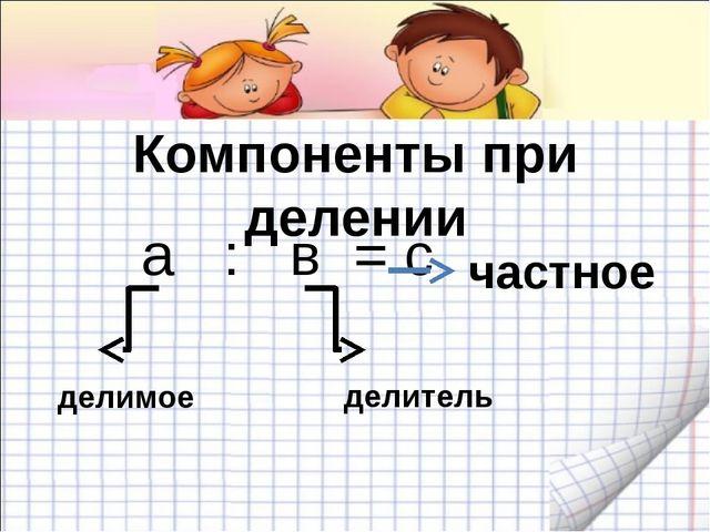 Компоненты при делении а : в = с частное делимое делитель