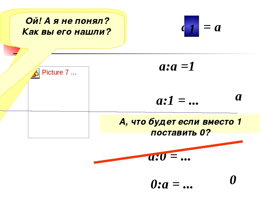 Я потерял число? Помогите его найти а:а =1 а:1 = ... а а:0 = ... 0 а• = а 1 О...