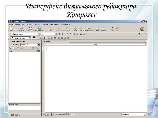 Интерфейс визуального редактора Kompozer