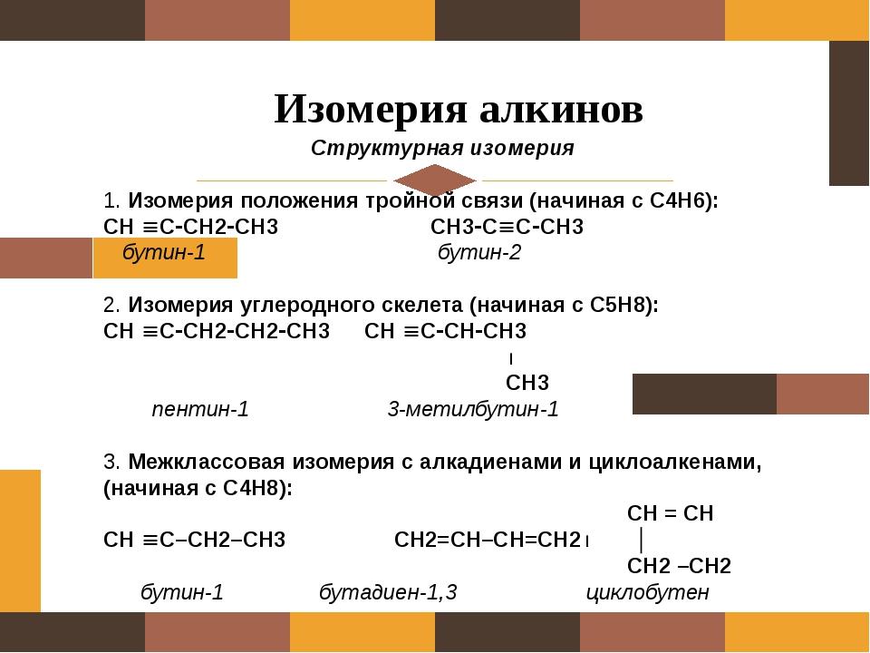 Изомерия алкинов Структурная изомерия 1. Изомерия положения тройной связи (н...