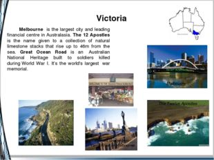 Victoria Melbourne The Twelve Apostles Melbourne is the largest city and lea