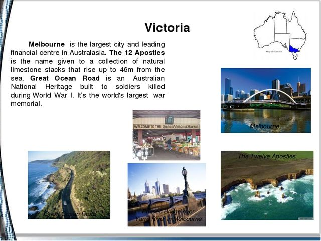 Victoria Melbourne The Twelve Apostles Melbourne is the largest city and lea...