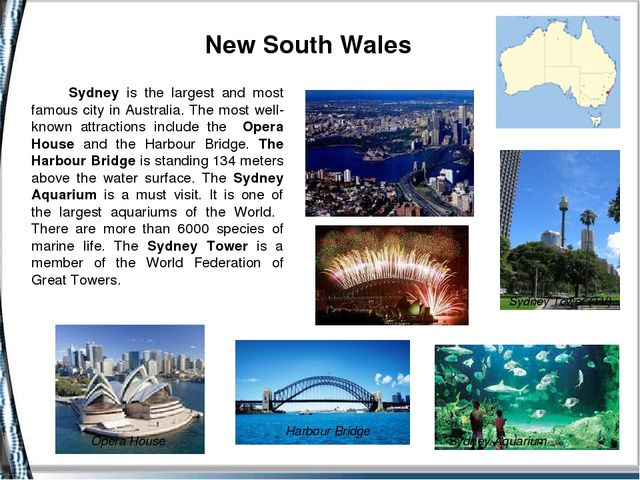 Sydney is the largest and most famous city in Australia. The most well-known...