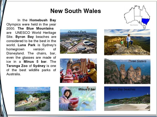 New South Wales Blue Mountains National Park Byron Bay beaches Minus 5 bar T...