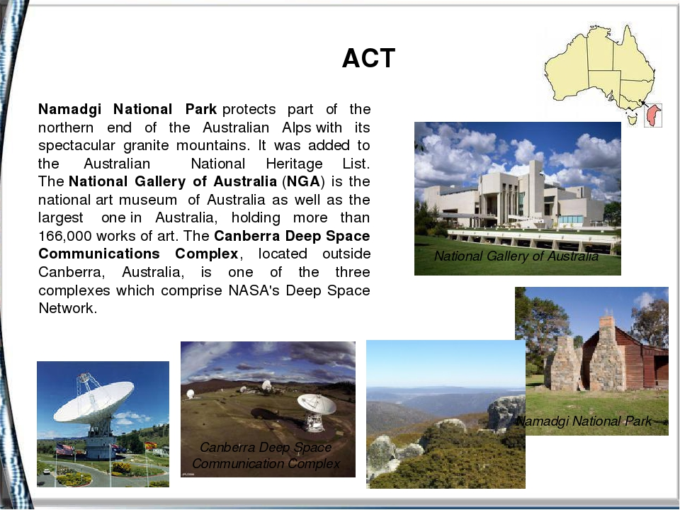 ACT Namadgi National Parkprotects part of the northern end of the Australia...