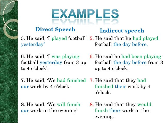 Direct Speech Indirect speech 5. He said, 'I played football yesterday' 6. He...