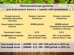 Математические расчеты для земельного налога с одним собственником Земельный