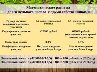 Математические расчеты для земельного налога с двумя собственниками Земельны