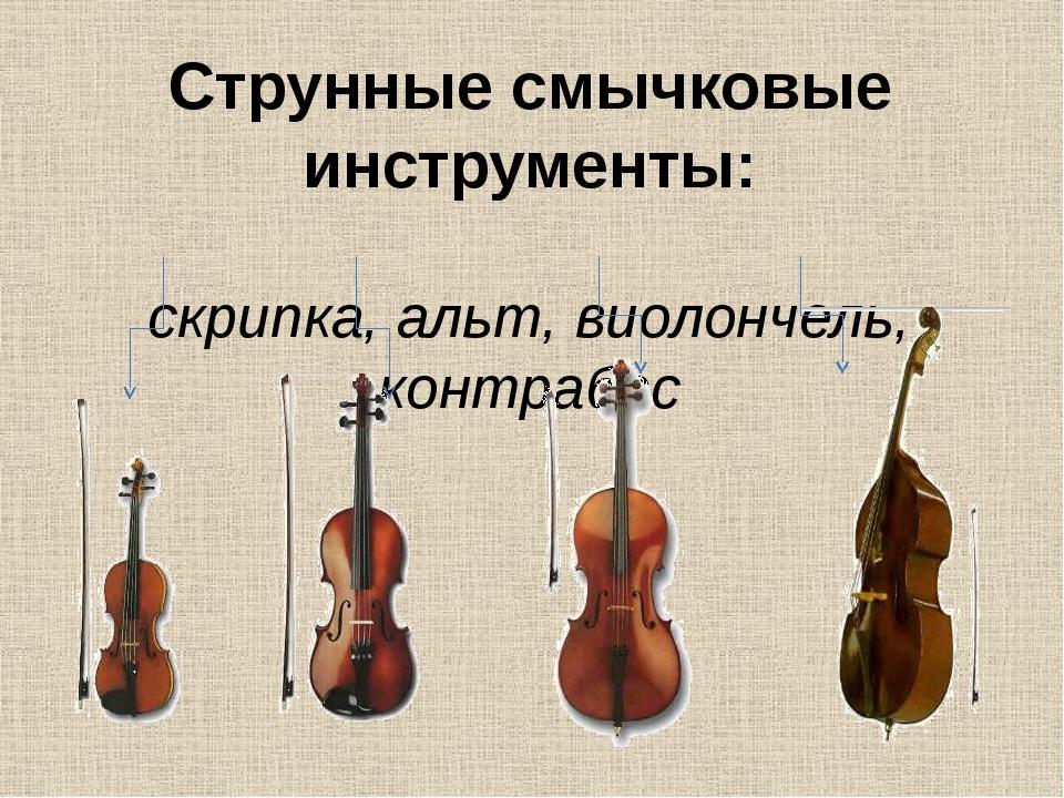 Струнные смычковые инструменты: скрипка, альт, виолончель, контрабас