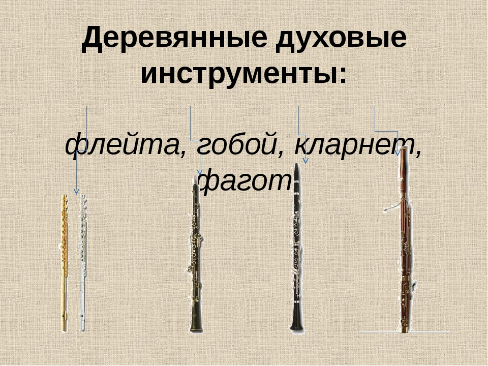 Деревянные духовые инструменты: флейта, гобой, кларнет, фагот