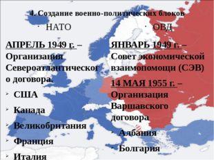 4. Создание военно-политических блоков НАТО АПРЕЛЬ 1949 г. – Организация Севе