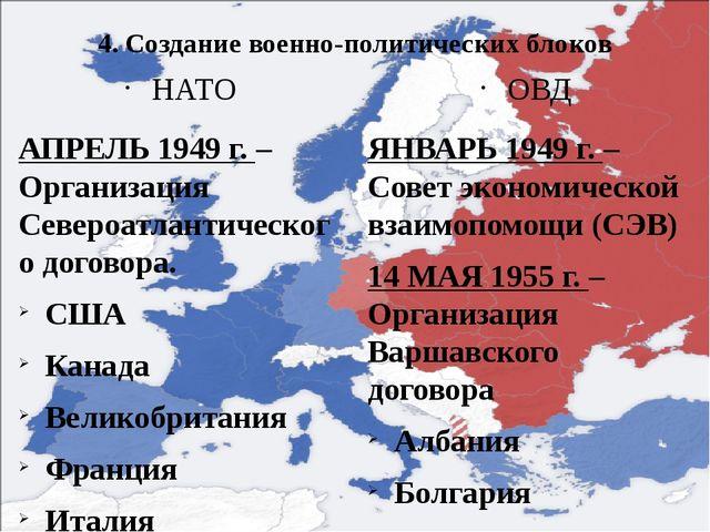 4. Создание военно-политических блоков НАТО АПРЕЛЬ 1949 г. – Организация Севе...
