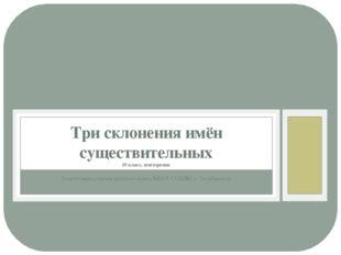 Подготовила учитель русского языка МБОУ СОШ№2 с. Октябрьское Три склонения им