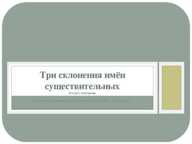 Подготовила учитель русского языка МБОУ СОШ№2 с. Октябрьское Три склонения им...