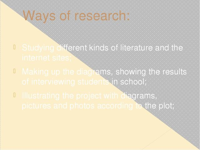 Ways of research: Studying different kinds of literature and the internet sit...