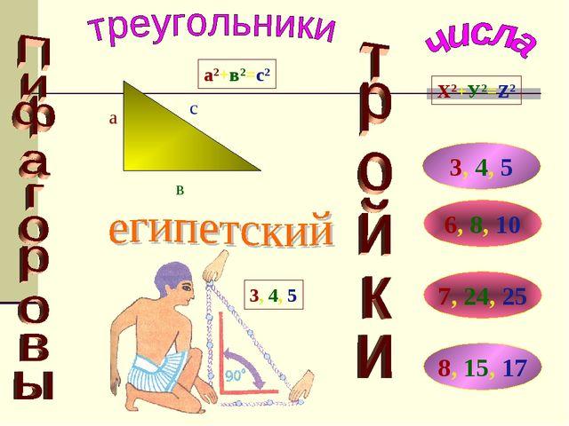 Х2+У2=Z2 3, 4, 5 6, 8, 10 7, 24, 25 8, 15, 17 а с в а2+в2=с2 3, 4, 5