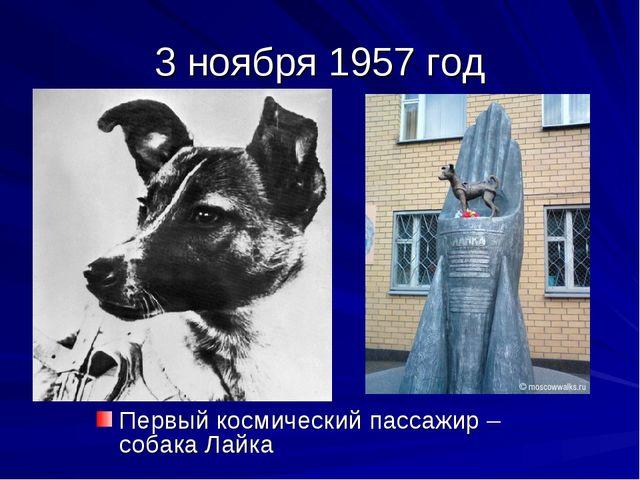 3 ноября 1957 год Первый космический пассажир – собака Лайка