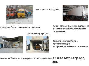 Аи = Атг + Атор, авт. Атг- автомобили технически готовые Атор- автомобили, на