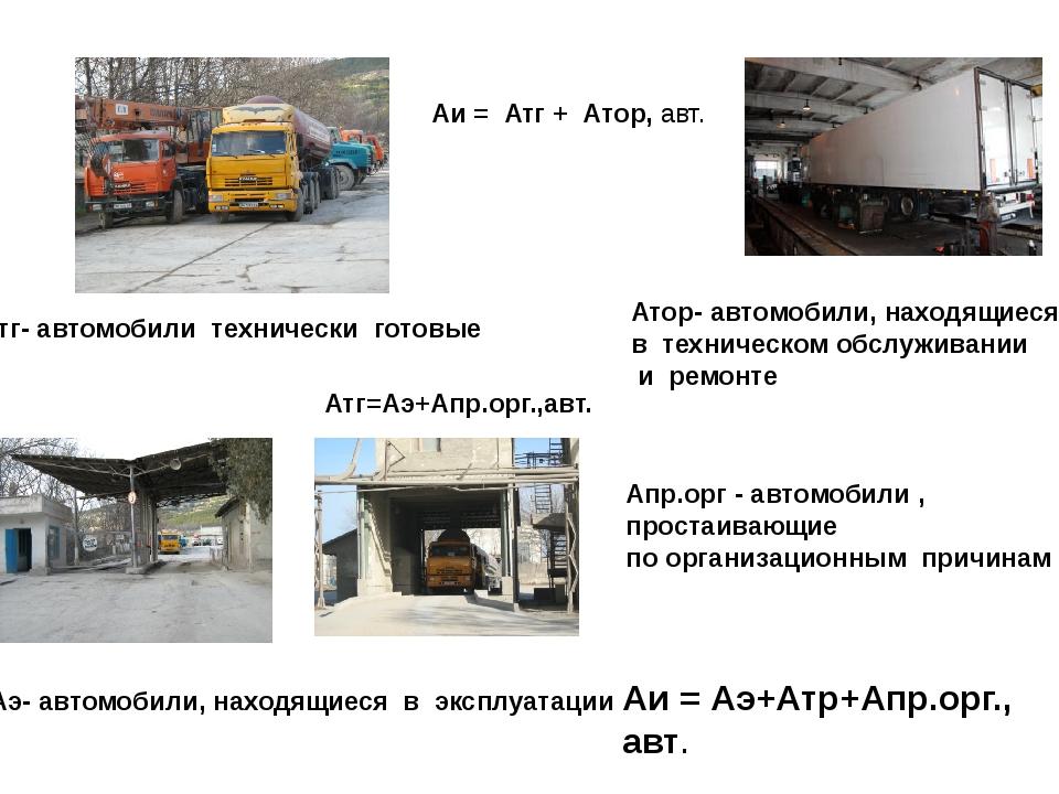 Аи = Атг + Атор, авт. Атг- автомобили технически готовые Атор- автомобили, на...