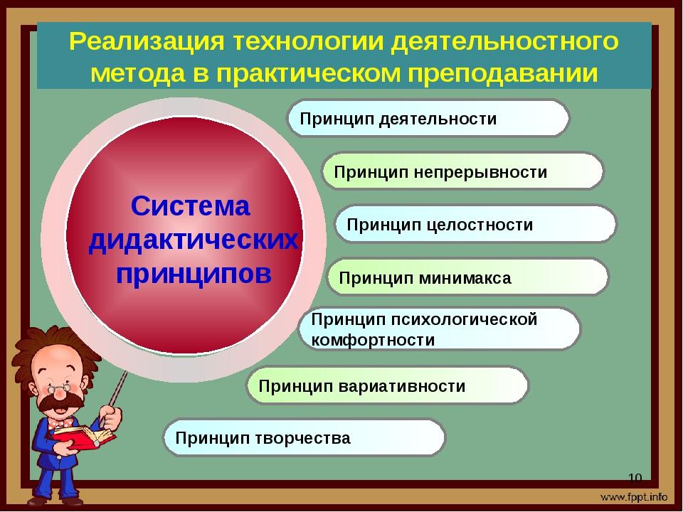 Реализация технологии деятельностного метода в практическом преподавании Прин...