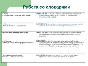 Работа со словарями В.И.Даль «Словарь живого великорусского языка»ПАТРИОТИЗМ
