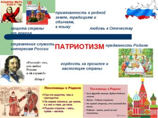 ПАТРИОТИЗМ стремление служить интересам России преданность Родине защита стра