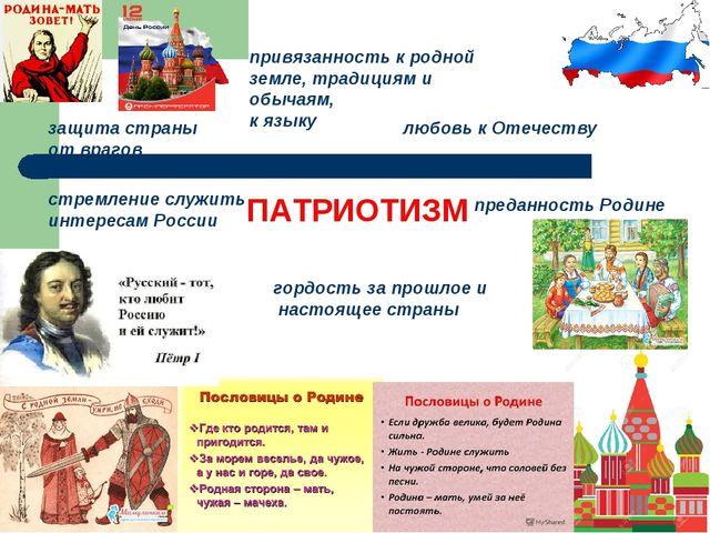 ПАТРИОТИЗМ стремление служить интересам России преданность Родине защита стра...