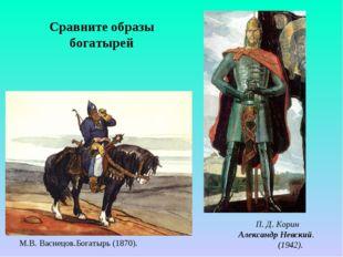 М.В. Васнецов.Богатырь (1870). П. Д. Корин Александр Невский. (1942). Сравнит