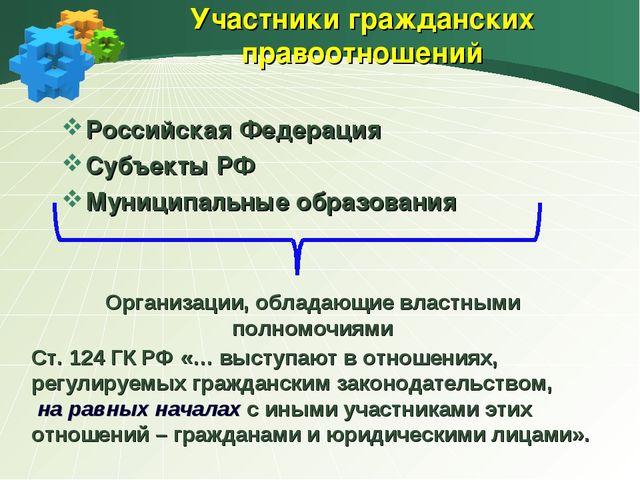 Участники гражданских правоотношений Российская Федерация Субъекты РФ Муницип...
