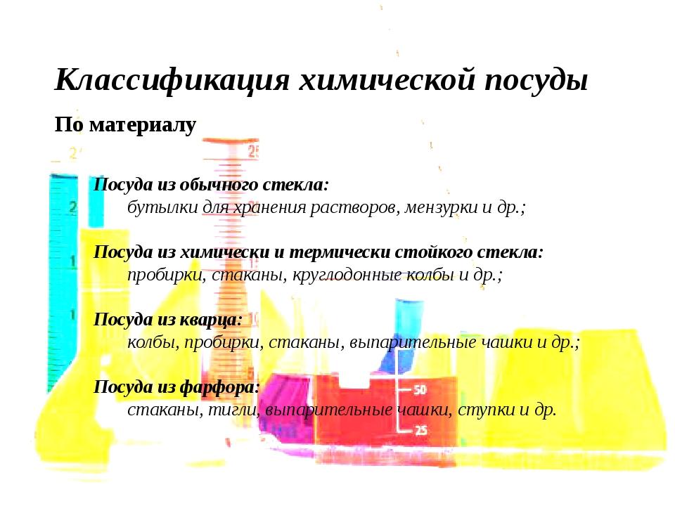 Классификация химической посуды По материалу Посуда из обычного стекла: буты...