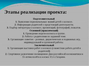 Этапы реализации проекта: Подготовительный 1. Выявление первоначальных знаний