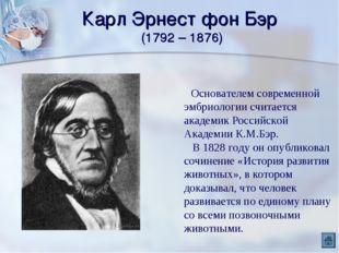 Карл Эрнест фон Бэр (1792 – 1876) Основателем современной эмбриологии считает