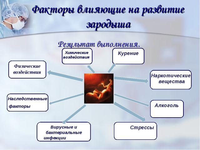 Факторы влияющие на развитие зародыша Результат выполнения. Физические воздей...