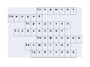 1у к р ы т и е 2м и к р о б 3с р е д с т в а 4з а р а ж е н и е 5и н ф е к ц
