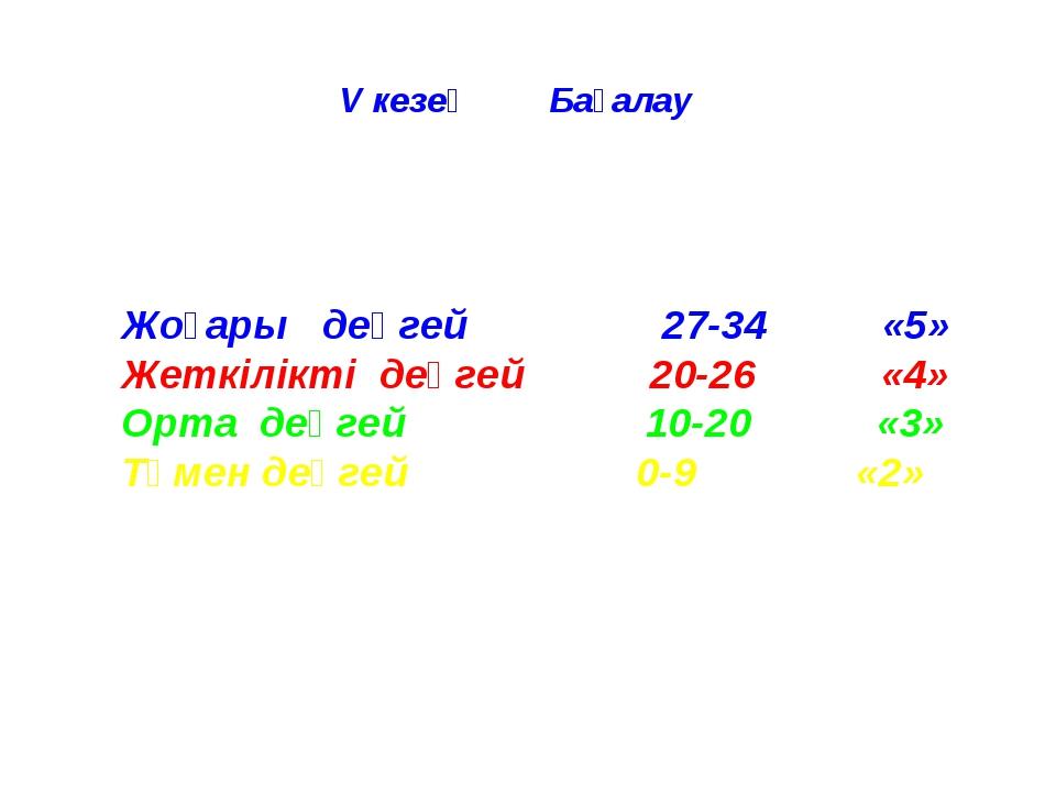 V кезең Бағалау Жоғары деңгей 27-34 «5» Жеткілікті деңгей 20-26 «4» Орта деңг...