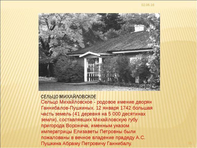 Сельцо Михайловское - родовое имение дворян Ганнибалов-Пушкиных. 12 января 17...