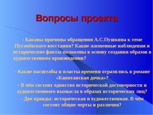 Вопросы проекта - Каковы причины обращения А.С.Пушкина к теме Пугачёвского во