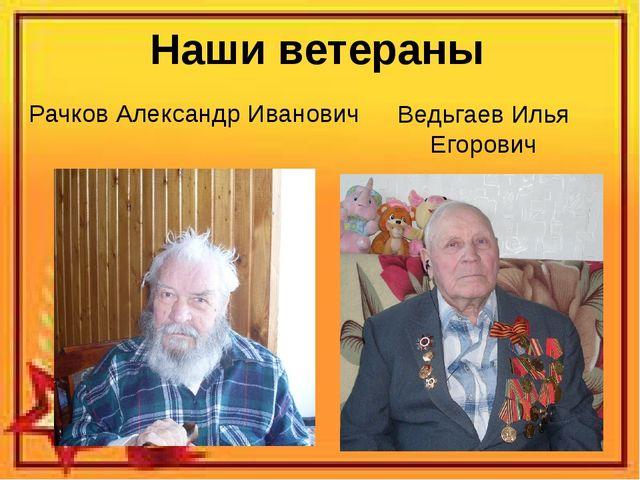 Наши ветераны Ведьгаев Илья Егорович Рачков Александр Иванович
