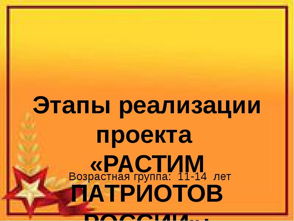 Этапы реализации проекта «РАСТИМ ПАТРИОТОВ РОССИИ»: 2013 год-2016 год Возрас...