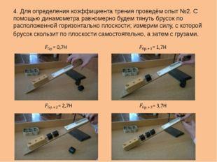 4. Для определения коэффициента трения проведём опыт №2. С помощью динамометр
